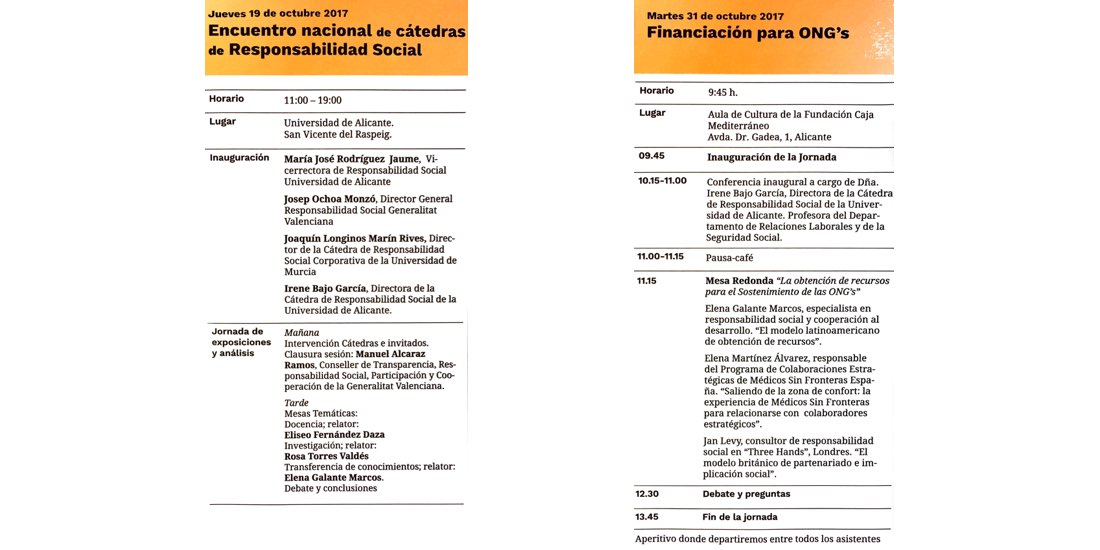 Actividades de Responsabilidad Social en Alicante en Octubre 2017